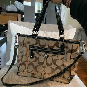 Coach Signature Logo Shoulder Strap Handbag